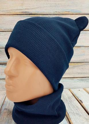 Темно синяя шапочка с ушками с хомутом, снуд, шарф, баф, демисезонная шапка, тонкая