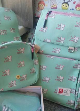Мятный комплект рюкзак etaishow с сумочкой для ланча (для девочки 4-7 класса 😍)