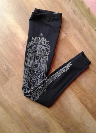 Модные, удобные, тянутся, леггинсы, лосины, с серебристыми узорами