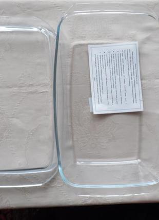 Кастрюля стеклянная для запекания, жаропрочная interos 3.0 л прямоугольная