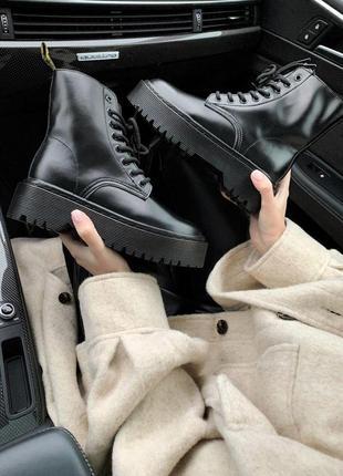 Черные деми ботинки dr. martens. люкс кожа! супер цена!