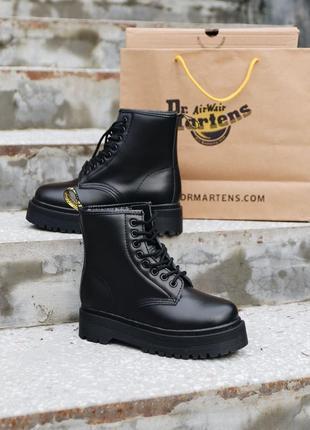 Dr.martens jadon  mono black premium без замку женские кроссовки наложенный платёж купить