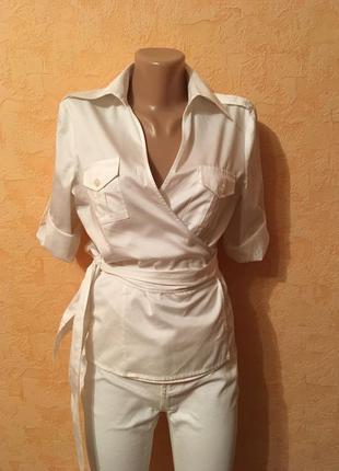 Большой выбор одежды до 100грн/белоснежная рубашка -блуза на запах