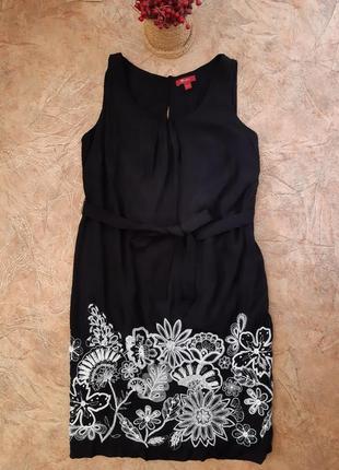 Красивое женское платье под поясок из вискозы с вышивкой, бисером от monsoon
