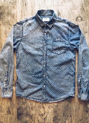 Стильная джинсовая рубашка унисекс pull&bear