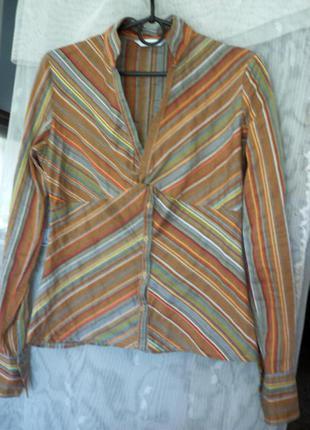 Легкая модная блуза с длинной баской на полочке и узлом на груди. р.40 - 42