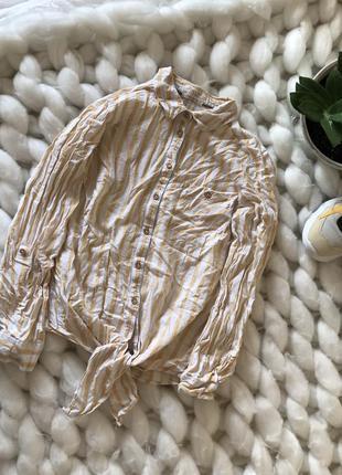 Льняная рубашка блуза на завязках с карманом свободная в полоску