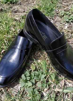 Лоферы мужские икос чёрные кожаные лаковые