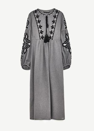 Шикарное платье миди с вышивкой от zara