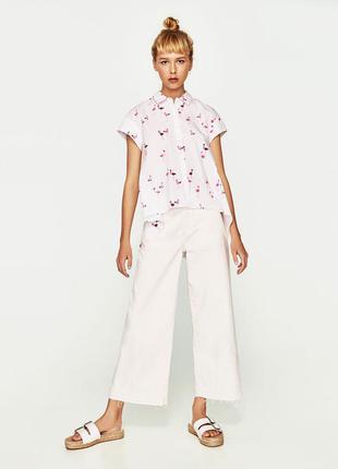 Белая ассиметричная рубашка с принтом фламинго