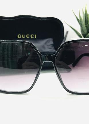 Женские солнцезащитные очки gucci чёрные (gg6611)