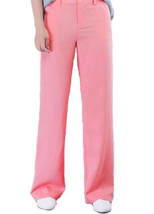 Льняные брюки на высокую девушку, 100% лён, размер л-xl