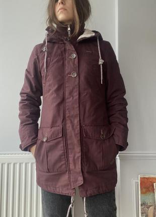 Демисезонная осенне-зимняя куртка, парка, бордового цвета