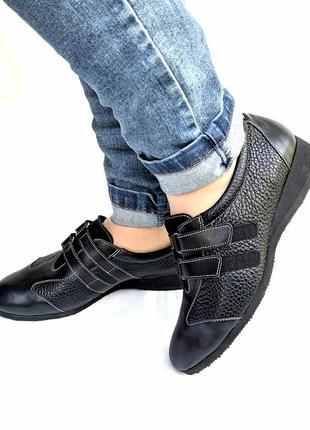 Стильные кожаные туфли сникерсы, монки schneider, швейцария, туфли на липучках