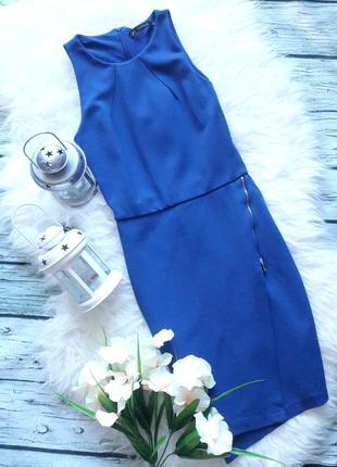 Трикотажное платье синее на молнии короткое zara размер xs s по фигуре