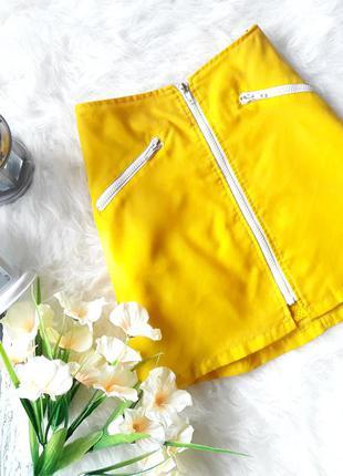 Поделиться: юбка в спортивном стиле на молнии желтая с карманами мини размер s m