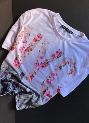 Майка - топ футболка белая с принтом atmosphere