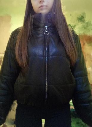 Кожаная дутая куртка, кожаный пуховик1 фото