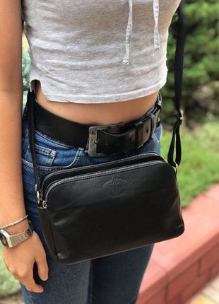 Женская кожаная итальянская сумка через плечо vera pelle италия черная