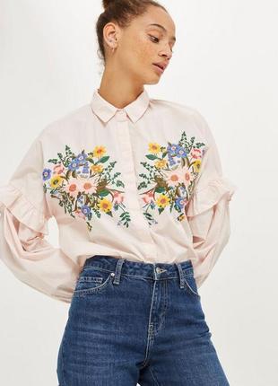 Рубашка с вышивкой topshop  (uk 6,р.xs)
