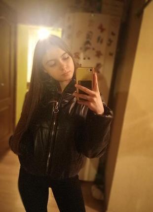 Кожаная дутая куртка, кожаный пуховик3 фото