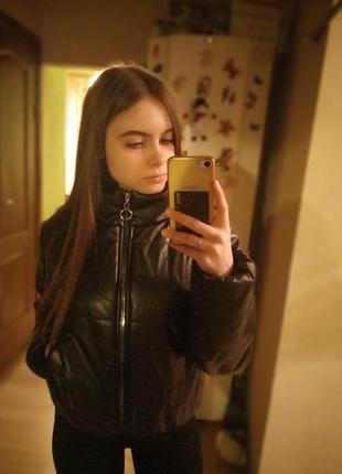 Кожаная дутая куртка, кожаный пуховик5 фото