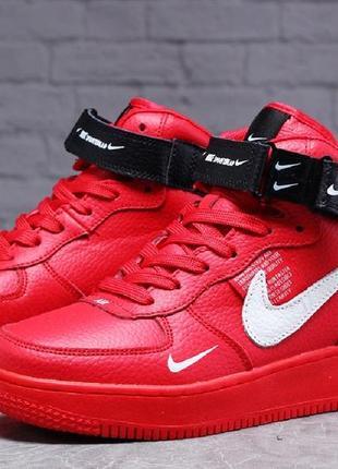 ► зимние т31412 женские кроссовки nike air  ( кожа мех), красные