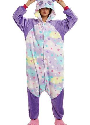 Кигуруми пижама панда звездная фиолетовая
