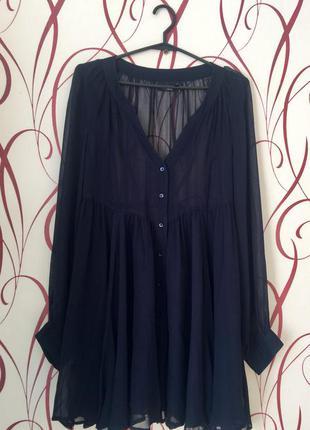 Шифоновое платье рубашка( юбка клёш)