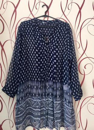 Удлинённая шифоновая блуза р46-48
