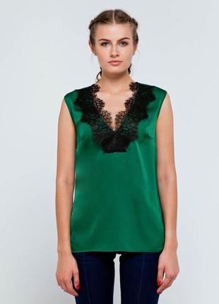 Блуза шелк ,блуза з мереживом, блузка атлас