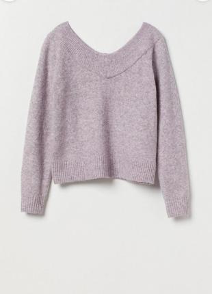 Шерстяной лиловый свитер сиреневый джемпер пуловер вовняний ліловий светр бузковий