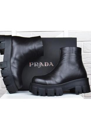 Ботинки женские кожаные prada прада на платформе черные демисезонные