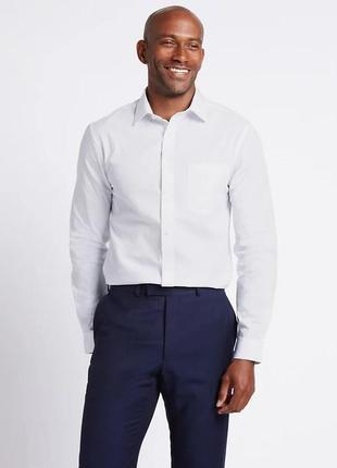 Акция. белая рубашка на длинный рукав m&s, 37 см, супер ткань для облегченной глажки