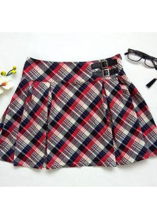 Классная мини - юбка, юбочка в клеточку, расклешенная бренда atmosphere
