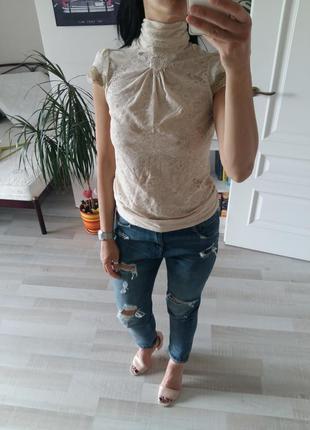Красивейшая ажурная блуза mango, айвори