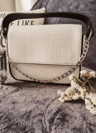 Белая сумка клатч экокожа