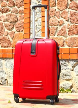 Пластиковый чемодан красный средний чемодан дорожный без предоплат валіза пластикова