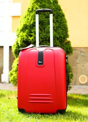 Чемодан дорожный ручная кладь пластиковый чемодан красный валіза пластикова