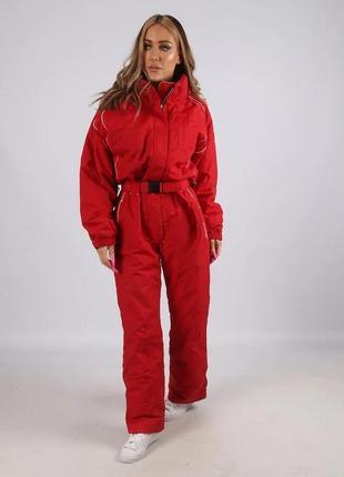 Красный лыжный зимний комбинезон quechua