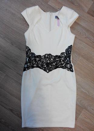 Платье футляр трикотаж кружево