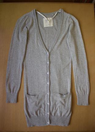 Хлопковый удлиненный серый кардиган свитер blend