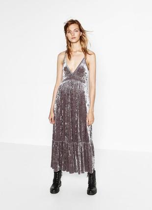 Zara коллекционное бархатное платье с воланом