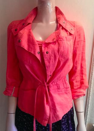 Роскошный коралловый пиджак, чистый лен, идеальное состояние