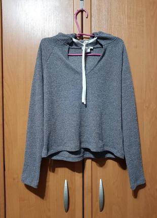 Стильный серый свитшот с капюшоном, красивый серый свитер, свитерок, кофта оверсайз