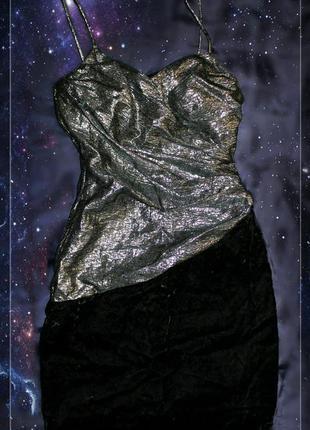 Оригинальное платье мини с разрезом,металлик+бархат,р.xxs-xs