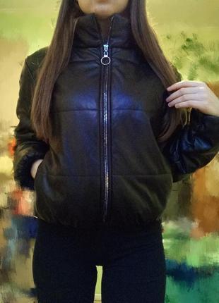 Кожаная дутая куртка, кожаный пуховик2 фото