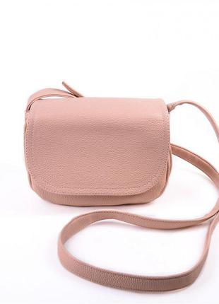 Маленькая молодежная сумочка на плечо цвет пудра