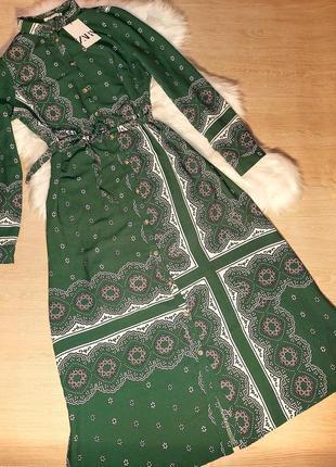 Шикарное изумрудное миди платье рубашка за колено с принтом zara