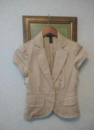 Коттоновый жакет пиджак с коротким рукавом